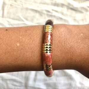 Bangle Bracelet with Brown and Gold Accent